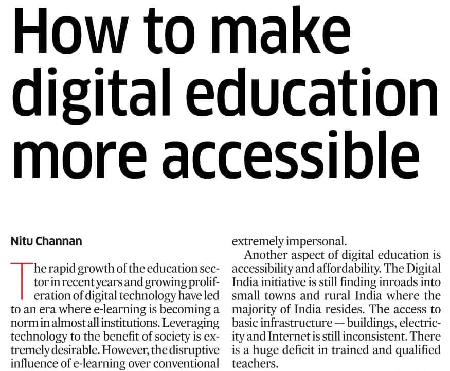 How to make digital education more accessible by Nitu Channan, MADE EASY SCHOOL, Gurugram