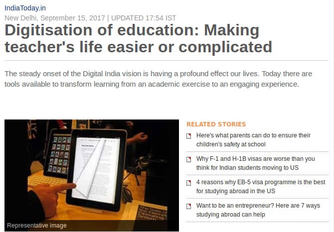 India Today article about Digitisation of Education written by Nitu Channan