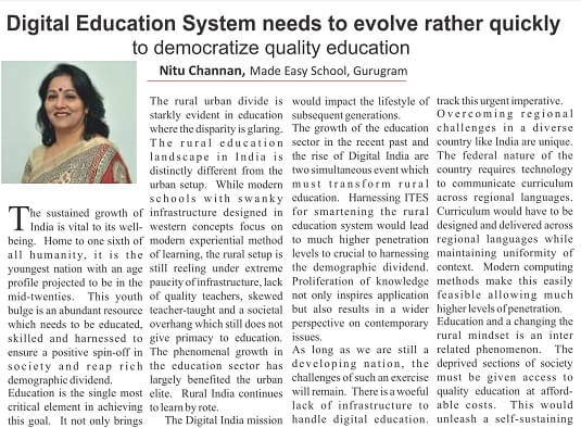 Curriculum Magazine article about Digital Education System needs to evolve rather quickly to democratize quality education by Nitu Channan, MADE EASY SCHOOL, Gurugram