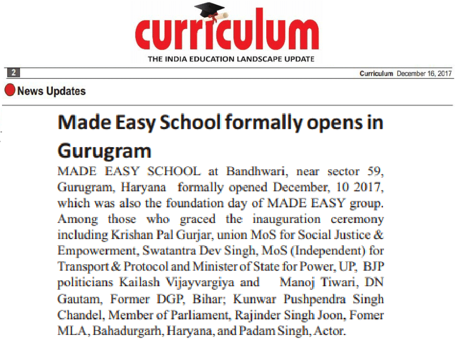 MADE EASY SCHOOL formally opens in Gurugram