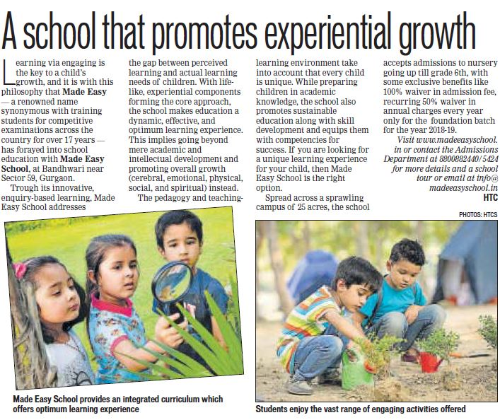 MADE EASY SCHOOL promotes Experiental Growth