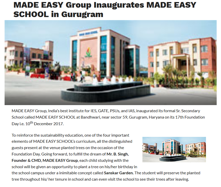 News MADE EASY Group Inaugurates MADE EASY SCHOOL in Gurugram